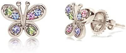 Premium 8MM Crystal Butterfly Screwback Kids Baby Girl Earrings With Swarovski Elements By Chanteur – 925 Sterling Silver With White Gold Tone – Perfect Gift For Children