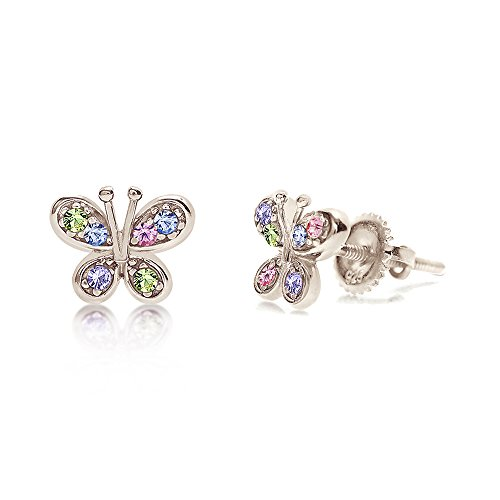 Premium 8MM Crystal Butterfly Screwback Kids Baby Girl Earrings With Swarovski Elements By Chanteur – 925 Sterling, White Gold Tone – Perfect Gift For Children by Chanteur