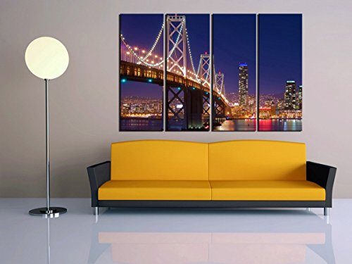 PulsatingFingertip-4 pieces New York San Francisco bay bridge canvas oil painting Famous Cityscape canvas prints bedroom Decoration No Frame - San Francisco Mirror