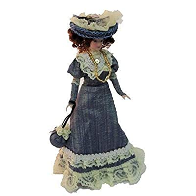 Melody Jane Dollhouse Victorian Lady in Blue Outfit Miniature People Porcelain: Toys & Games