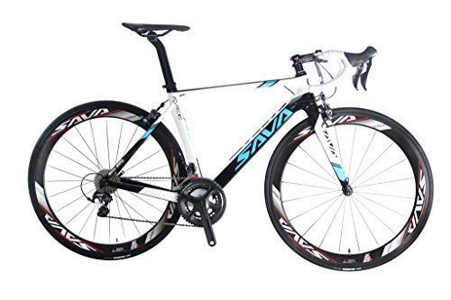 SAVADECK Graceful 1.0 700C Road Bike T800 Carbon Fiber Frame / 50MM Wheelset / Fork / Handlebar / Seatpost / Headset with SHIMANO 6800 22 Speed System Maxxis 23C Tire and Fizik Saddle 18.1lbs White