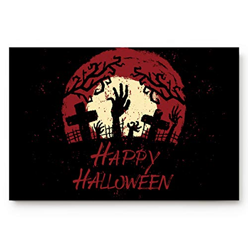 BABE MAPS Happy Halloween Zombie Pattern Welcome Doormat Entrance Floor Mat Rug Indoor/Front Door/Bathroom/Kitchen and Living Room/Bedroom Mats Rubber Non Slip 18