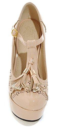 YE Damen T-Spangen Blockabsatz Riemchen Retro High Heels Plateau Pumps mit Fransen und Schnalle 12cm Absatz Schuhe Aprikose
