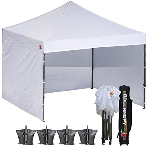 ABCCANOPY (18+Colors) Commercial 10x10 Ez Pop up Canopy, Party Tent, Fair Canopy with 6 Zipped End Sidewalls and Roller Bag Bonus 4X Weight Bag (White)