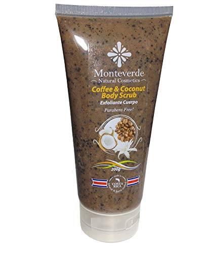 Monteverde Natural Cosmetics Coffee and Coconut Body Scrub. Anticellulite, antiwrinkle, anti varicose veins and antioxidant. (7.8 Ounces)