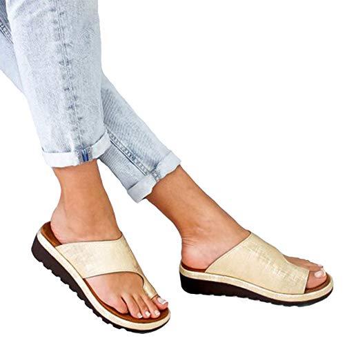 (CCZZ Women Summer Wedges Platform Sandals Stylish Thong Flip Flops Ultra Comfort Slippers Toe Loop Flat Sandals Gold, 10)