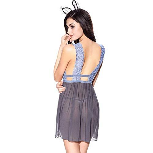 Blau Sin Sleeveless Tirantes Cuello Mujer En Vestido Bragas De Conjunto Marca Camisón V Profundo Transparentes Pijama Dormir Mode OqWFT