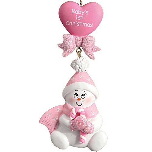 Personalized Candy-Cane Baby's 1st Christmas Tree Ornament 2019 - Cute Snowman Pink Glitter Hat Mitten Heart Girl's First New Mom Shower Gift - Free Customization (Pink)