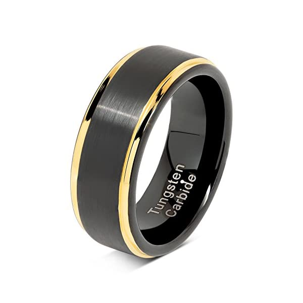 100S JEWELRY Tungsten Rings For Men Two Tone Black Gold Wedding Band Center Brushed Engagement Size 8-16 - 41G1ETRP  2BL - 100S JEWELRY Tungsten Rings for Men Two Tone Black Gold Wedding Band Center Brushed Engagement Size 8-16