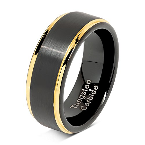 100S JEWELRY Tungsten Rings for Men Two Tone Black Gold Wedding Band Center Brushed Engagement Size 6-16 (7)