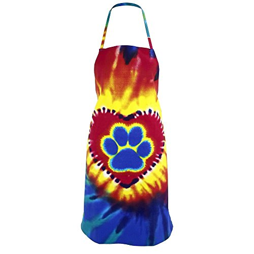 Animal Rescue Colorful Paw Print Pet Lovers Kitchen Apron (Tie-Dye Paw Print in a Heart) by Animal Rescue