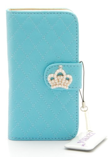 ZZYBIA® IP5 QC Leatherette Stand Case Card Holder Wallet with Screen Cleaning Pad for Apple Iphone 5 5s (Light Blue)