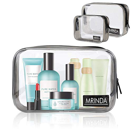 MRINDA-Clear Travel Bag| TSA approved toiletry bag| Clear Toiletry Bag| Quart Sized Bag with Zipper,Carry On Airport Airline 3-1-1 Compliant Bag for Men Women (1 middle 1 large)