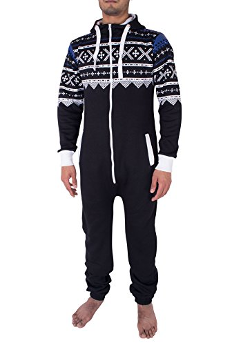 Noroze Mens Hoodie Jumpsuit Onesie One Piece Pajamas (Small, Aztec Black)