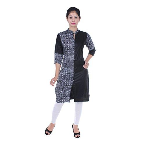 Chichi Indian Women Kurta Kurti 3/4 Sleeve Medium Size Plain with One Side Printed Straight Black-White Top by CHI (Image #5)