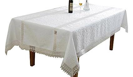 Violet Linen Ruby Embroidered Vintage Lace Design Oblong/Rectangle  Tablecloth, 54u0026quot; X 72u0026quot