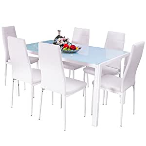 Merax 7 Piece Dining Set Glass Top Metal Table 6 Person Table An