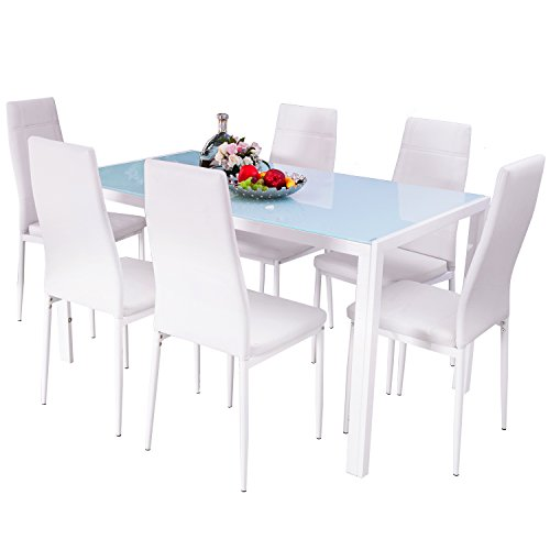 Merax 7PC Glass Top Dining Set 6 Person Dining Table And