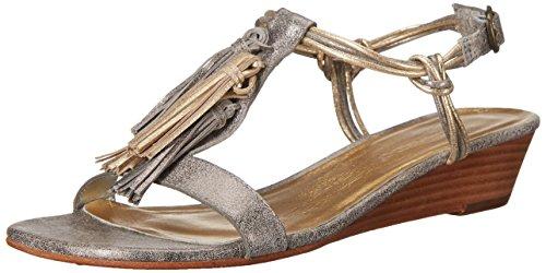 Bernardo Women's Court Wedge Sandal, Silver/Gold Metallic, 9 M US
