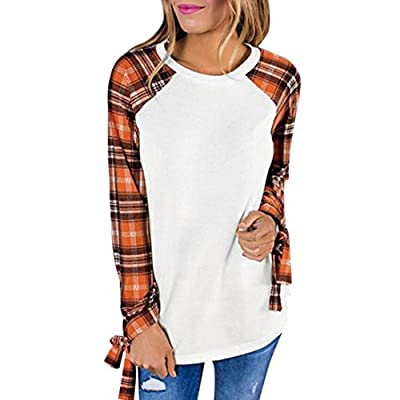 Vovotrade Hot Sale Women's Adorable Plaid Patchwork Pullover Tops Ladies Round Neck T-Shirt Casual Blouse