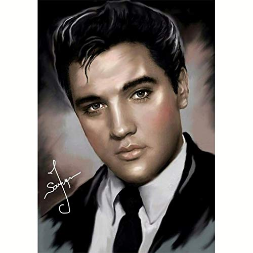 (DIY 5D Diamond Painting by Number Kits for Adults,Full Square Drills Elvis Presley Rhinestone Cross Stitch by Number Kits for Living Room,11.8 x 15.7inch)