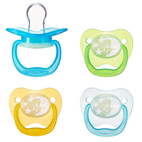 (Amazon Brand - Mama Bear Glow-in-the-Dark Baby Pacifier, Stage 1 (0-6M), BPA Free, Assorted Colors (Pack of 4))