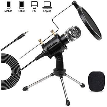 3.5mm Jack Podcast Studio Microphone Mic w// Stand for Skype Desktop MagiDeal