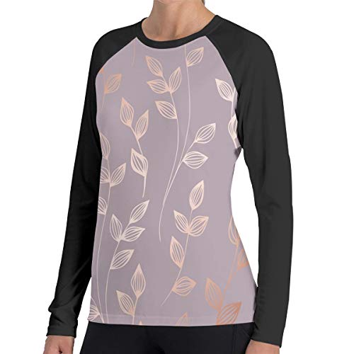 Tqx5ee Women's Active Long Sleeve Workout Running Sports Leisure T-Shirt Floral Elements