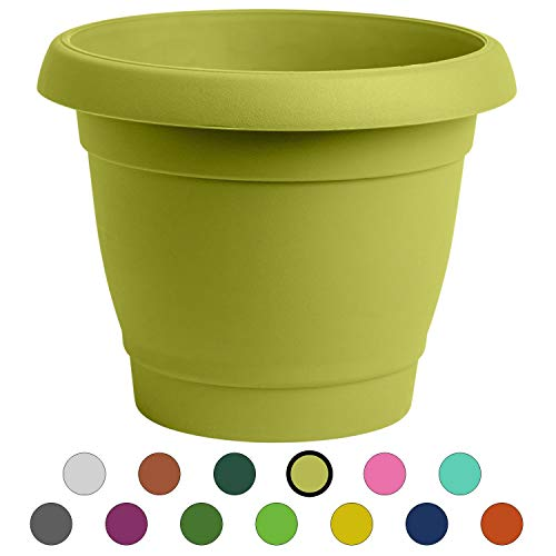 ALMI Carmel  Round Planter 9 Inch, Plastic Rounded Pot For Garden, Elegant Shaped Flower Tree, Tapered Planters For Plants, Small Trees, UV Resistant Paint, Indoor & Outdoor,  Lime Green