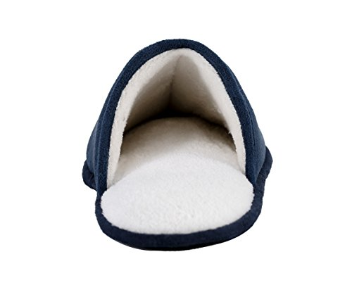 KushyShoo Mens Fleece Indoor Outdoor Scuff House Slipper With Non-Slip Sole Navy TxdAFPPyhM