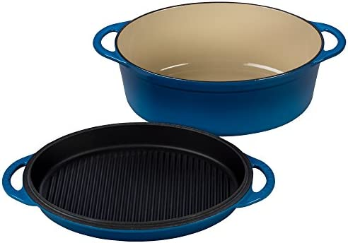 Le Creuset Cast Iron Oval Oven with Reversible Grill Pan Lid, 4 3 4 quart, Marseille