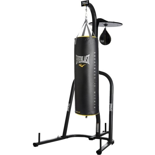 (Everlast Dual Station Punching Bag Stand w/ 100 lb PowerCore Heavy Bag and Everhide Speed Bag)