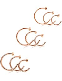 1-24PCS 18-22G Stainless Steel Nose Ring Hoop Earring Body Jewelry Piercing for Women 6-12MM