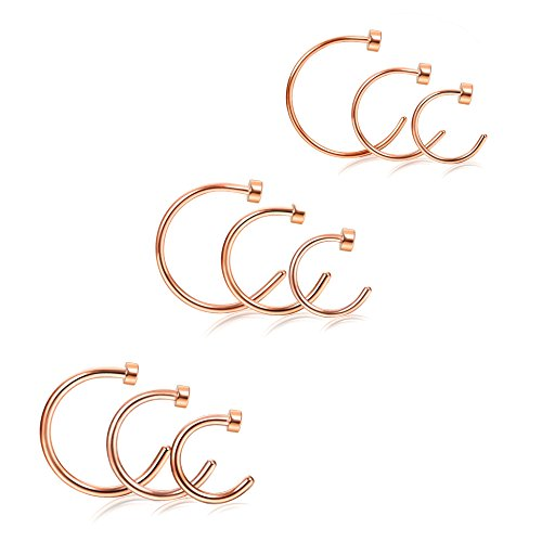Udalyn 9PCS 18-22G Stainless Steel Nose Ring Hoop Earring Body Jewelry Piercing for Women 6-10MM Rose Gold