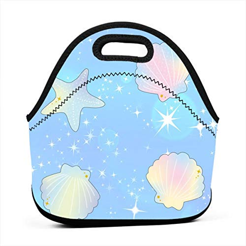 (Reusable Lunch Bags Seashells Clams Starfishes Ocean Sparkles Stars Rainbow Pastel Bubbles Insulated Neoprene Lunch Bag for Women, Men and Kids - Reusable Soft Lunch Tote for Work and School)