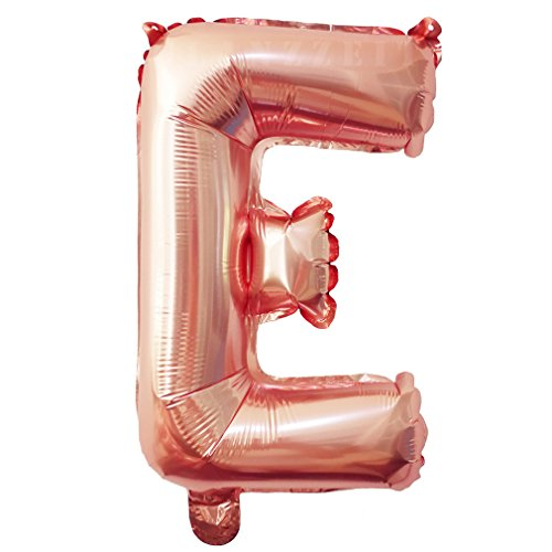 Glanzzeit® 16 inch Rose Gold Balloons Letter A to Z Number 0 to 9 Foil Balloons for Wedding Prom Birthday Party Baby Shower Christmas Decor (Letter E)