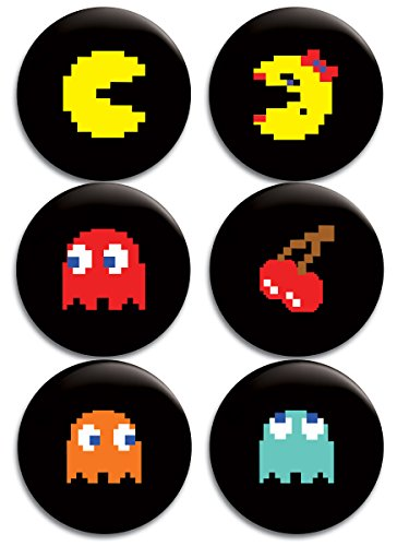 Pac-Man Buttons/Badges/Pins Set