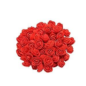 AutumnFall 100pcs Mini PE Foam Red Roses Artificial Flowers for Wedding Car Decoration DIY Wreath Handmade Scrapbooking Fake Flowers (L) 89
