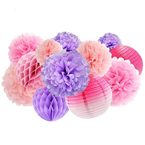 NICROLANDEE 12pcs Blush Pink Purple Tissue Flowers Pom