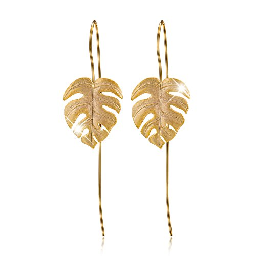 Fun Drops - Lotus Fun S925 Sterling Silver Drop Earrings Monstera Leaves Dangle Earring for Women and Girls, Handmade Unique Jewelry Gift (Gold)