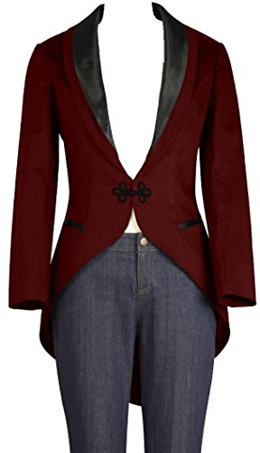 ((XS-28) Trailblazer - Burgundy Women's Satin Formal Blazer Slim Fit Jacket)