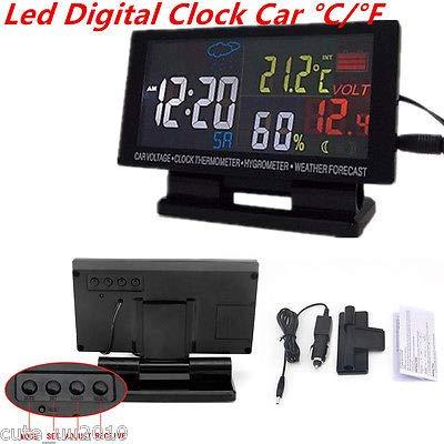 FidgetFidget Car Digital Clock Alarm Thermometer Hygrometer Voltage Weather Forecast Gauge 1P