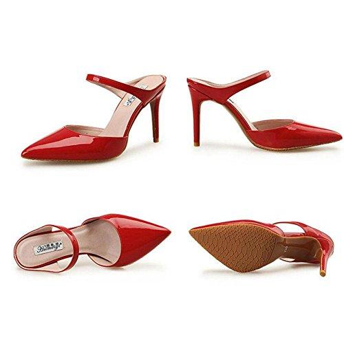 L@YC® Mujeres Zapatillas De Verano Señaló Tacones altos SeñOras Hebilla De Palabra Con Sandalias Red