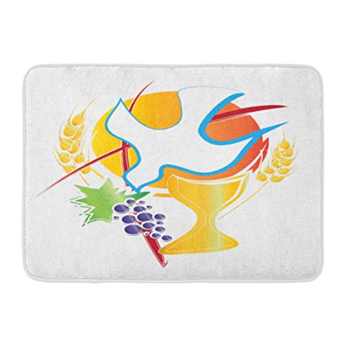 Emvency Doormats Bath Rugs Outdoor/Indoor Door Mat Eucharist Symbol Chalice Holy Spirit Dove Grapes and Wheat Cross First Communion Abstract Bathroom Decor Rug Bath Mat 16