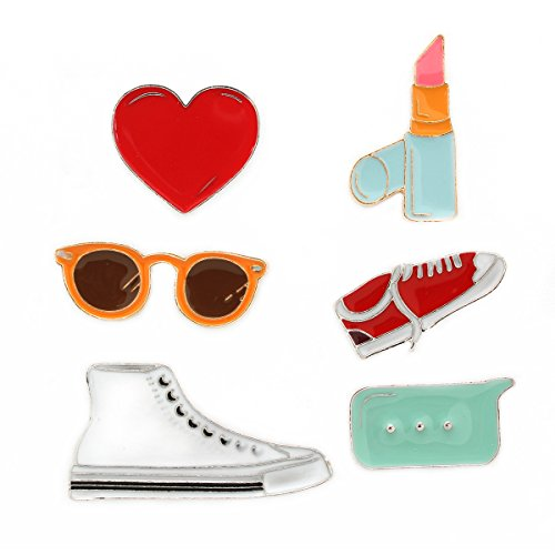 MeliMe Cute Cat Animal Floral Fruits Enamel Brooch Pins Cartoon Lapel Pins Lovely Badge for Women Kids Clothing Decoration (Sunglass lipstick shoes set of 6)]()