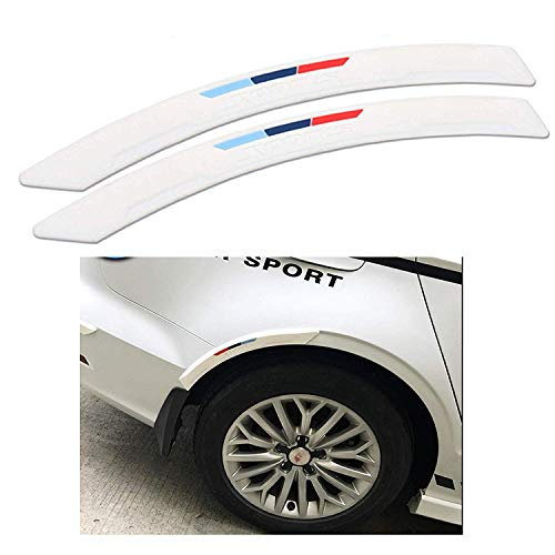 Ξ AO Star Car Wheel Fender Eyebrow Edge Trim Protector Rubber Strips Side Bumper Protection Guard,White