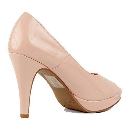 Heel Heart 1 Peep Stiletto Platform Nude Womens Pumps High Patent Open Party Slip Guilty Toe on Dress 6qYFw6d