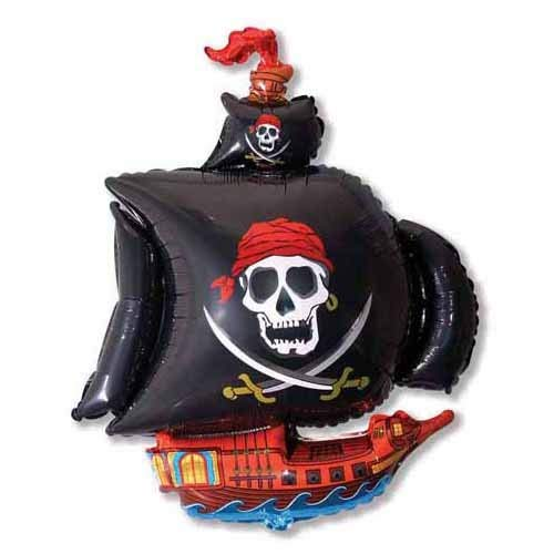 (LA Balloons Foil Balloon 901669-BLK Pirate Ship - Black 41