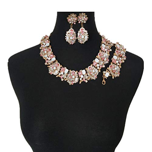 NABROJ Pink Drag Queen Jewelry Set, Vintage Statement Necklace Bracelet Earrings with Pink Gems Costume Jewelry for Women 1 Set with Gift Box-HLN001 Pink 3pcs Set