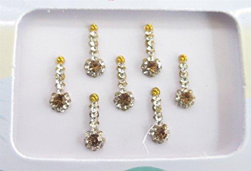(Long Gold Antique Face Jewels Bindis, Designer Bindis, Bollywood Gold Bindis, Bindi Stickers, Bindi)